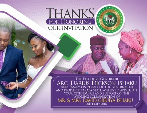 Government and People of Taraba state thanks Wedding Attendees